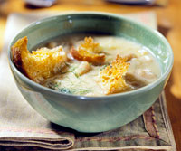 Root Veggie Soup with Curry Croutons
