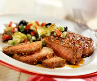 Steak with Olive Relish