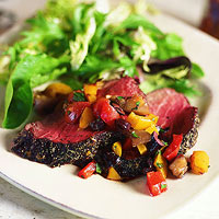 Grilled Beef Tenderloin with Mediterranean Relish