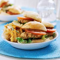 BBQ Chicken Burgers and Waffle Fries