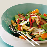 Image of Arugula With Grilled Sausage Peppers And Cannellini Beans, Ladies' Home Journal