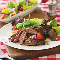 Marinated Skirt Steak Topped with Salad