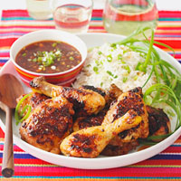 Spicy BBQ Chicken with Coconut Scallion Rice