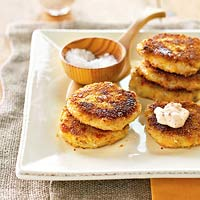 Mashed Potato Patties with Tapenade Cream