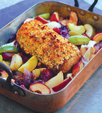 Roast Pork Loin with Red Cabbage, Apples, and Onions