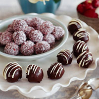 Pink Coconut, Triple Chocolate, and Square Truffles