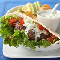 Greek Burgers with Cucumber Sauce