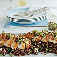 Pan-Seared Chicken Breasts with Olive Relish on Warm Lentil Salad