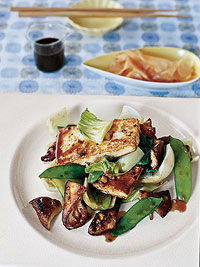 Stir-Fried Tofu with Bok Choy, Shiitake Mushrooms and Snow Peas