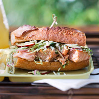 Lime Barbecue Salmon Sandwiches