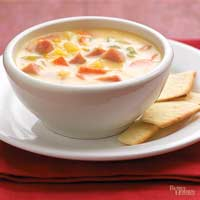 Cheesy Vegetable and Ham Chowder
