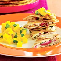 Smoked Chicken Quesadillas with Mango Salsa
