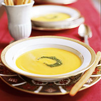 Roasted Butternut Squash Soup with Cilantro Pesto
