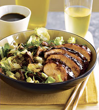Lacquered Chicken with Roasted Leeks, Fennel, and Shiitake Salad