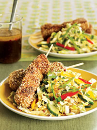 Sesame Chicken Skewers with Ginger Slaw