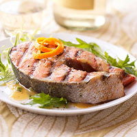 Grilled Salmon Steaks with Mustard-Jalapeno Glaze