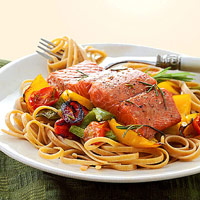 Salmon with Whole Wheat Pasta