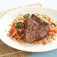 Lamb with Two-Pepper Bulgur