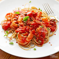 Spaghetti with Tomatoes & Shrimp