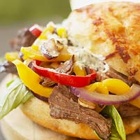 Pepper and Onion Hot Beef Sandwiches