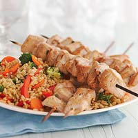 Tuna Skewers with Vegetable Rice