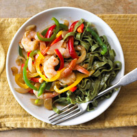 Garlicky Peppers & Shrimp