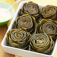 Image of Artichokes With Lemon-Mustard Mayo, Ladies' Home Journal