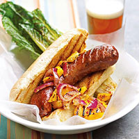 Brats with Mango Relish