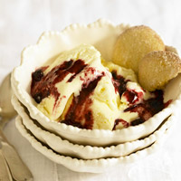 Lemon Ice Cream with Blueberry Sauce