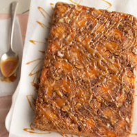 Upside-Down Apricot-Caramel Crunch Cake