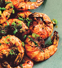 All-You-Can-Eat Shrimp with Green Onion, Garlic and BBQ Spices