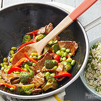 Sweet and Spicy Edamame-Beef Stir-Fry