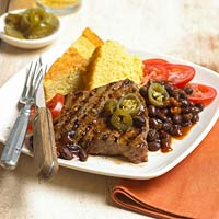 Flat Iron Steak with BBQ Beans