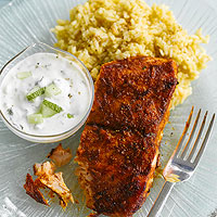 Curried Salmon and Mint Raita
