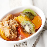 Kiwi Peach Cobbler