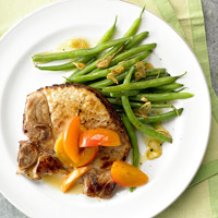 Image of Apricot Pork With Garlic Green Beans, Better Homes and Garden