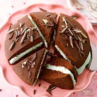 Giant Whoopie Pies with Creme de Menthe Filling