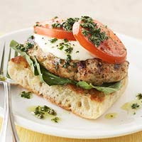Open-Face Pesto-Chicken Burgers