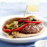 Pan-Seared Pork Burgers with Peppers and Mushrooms