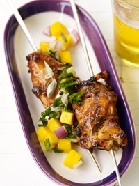 Chicken Satay Skewers with Mango Relish