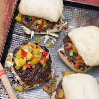 Jerk Burgers with Mango Salsa