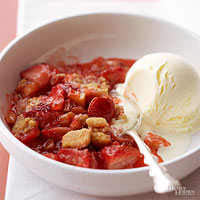 Grilled Strawberry-Rhubarb Cobbler with Shortbread Crumb Topperx