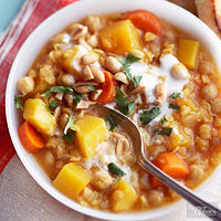 Pumpkin, Chickpea, and Red Lentil Stew