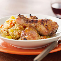 Glazed Chicken Drumsticks with Quinoa