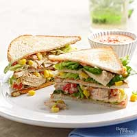 Tuna Club Sandwiches with Roasted Pepper Sauce