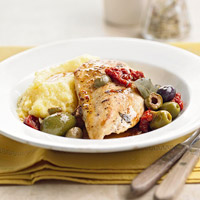 Mediterranean Chicken and Polenta