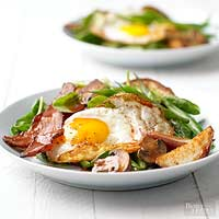 Frizzled Egg Spinach Salad