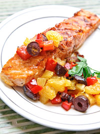 Simple Grilled Salmon with Kalamata-Orange Relish