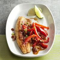 Pan-Fried Fish with Peppers and Pecans