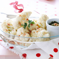 Cauliflower Crowns with Pesto and Prosciutto